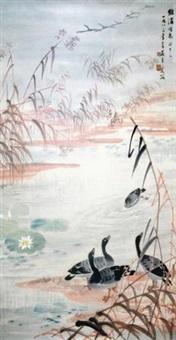 荷塘嬉戏图 镜片 设色纸本 by wu qingxia