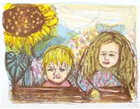 zwei kinder (mit sonnenblume) by otto dix