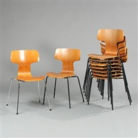 chairs (model 3101) (set of 9, incl. 1 w/black metal legs) by arne jacobsen