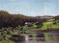 schwarzwaldlandschaft im sommer mit spiegelndem see und malerischen häusern by margarete von baczko