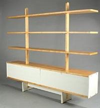a maple room-divider with five shelves by jörgen gammelgaard