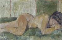 nudo disteso (recto); ritratto di ragazza (verso) by enzo faraoni