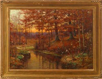 wooded stream - sunset landscape by john elwood bundy