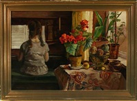 interior with girl at the piano by axel jacobsen