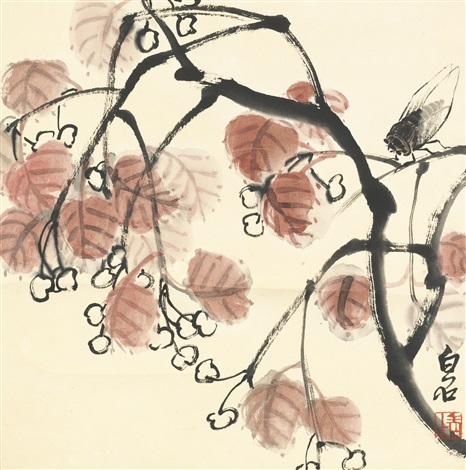 cherry and cicada by qi baishi