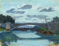 pont de seine á paris (seine-brücke in paris) by armand guillaumin
