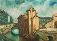 vecchia milano-ponte sul naviglio via olocati ora corso genova by daniele fontana
