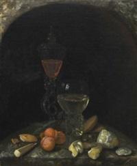 stillleben mit glaspokal, weinrömer, aprikosen, zitrone und gebäck by georg hainz