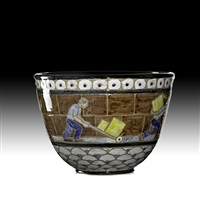 bowl depicting dockworkers by james mcconnell anderson