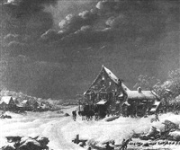 winterliche dorfstraße mit staffagen by johann adam ackermann