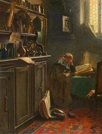 der gelehrte im studierzimmer by carl maria seyppel