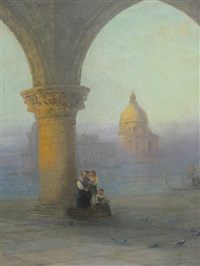 the doges loggia, venice at dawn by sydney herbert