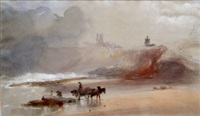 figure with a horse and cart on a shore by george bryant campion