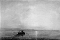 fischerboot vor abendlicher küste by jacques van gingelen