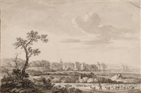a view of leusden with shepherd and sheep in the foreground by jan apeldoorn