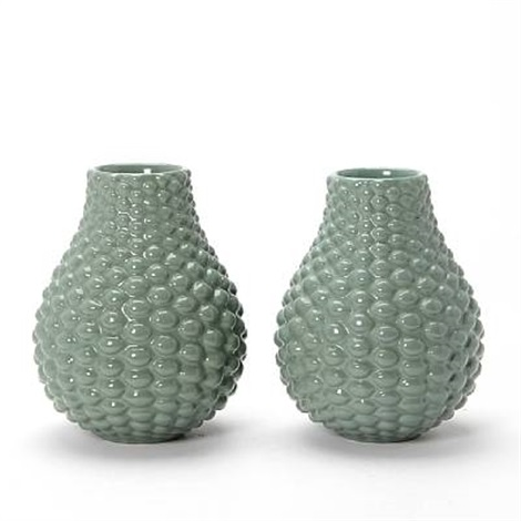 vases modelled in budded style (pair) by axel johann salto