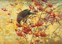 gråsparv i rönnbärsträdet by thure wallner