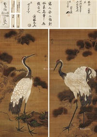 松鹤延年 (pine and crane) (2 works) by lin liang