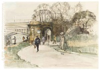 a view of richmond bridge, london (+ 2 others; 3 works) by roland batchelor