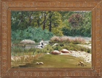 paysage de la creuse et fougre (+ washerwomen on the riverbank; 2 works) by gaston anglade