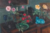 stillleben mit rosen und porzellankatze in interieur by jeanne marguerite frey-surbek