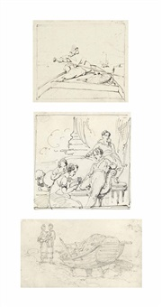 study of a tanka boatwoman rowing; study of a beached sampan with mother and child; and a sketch for a family group portrait (3 works) by george chinnery