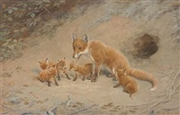 a fox with her cubs before their den by frank paton