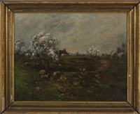 spring landscape with sheep by edward b. gay