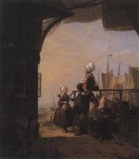 fischersfrau mit kindern in erwartung der boote by hendrik vettewinkel