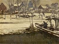 fischer am rhein bei wittlaer in winterlicher landschaft by maximilien (max) clarenbach