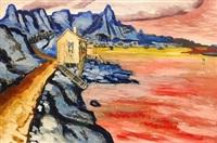 ödsligt kustlandskap med flammande hav by gunnar loberg