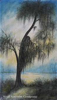 cypress silhouette with spanish moss by will ousley
