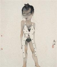 少女 镜心 纸本 by liu qinghe