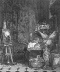 atelier-stilleben mit prunkgeschirr, blumen, früchten und flämischem gobelin by eduard caspar post