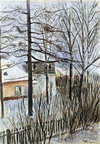 datcha im winter by mikhail markelovitch gurjavine