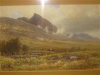 welsh moorland with cattle by reginald aspinwall