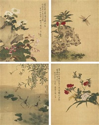 flowers, birds, insects, and rock (album w/6 leaves) by xu ji