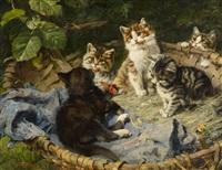 fünf kätzchen im korb by julius adam (unattributable)