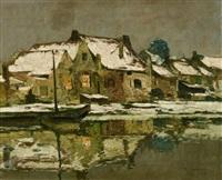 winterabend an der erft by maximilien (max) clarenbach