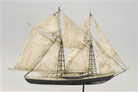 two-masted schooner weather vane by frank adams