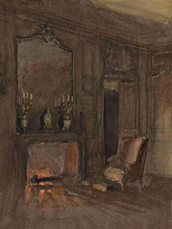 feu de cheminée dans un salon by walter gay