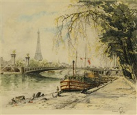 parisian view along the seine (+ another; pair) by hans figura