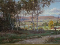 shepherd with sheep in a woodland glade with hills beyond by marie-victor-emile isenbart