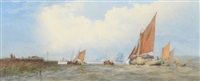 a view on the thames with a hay-barge and boats by edward duncan