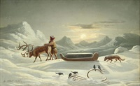 winter dusk scene of a laplander with reindeer sleigh pulling coffin by georg eduard otto saal