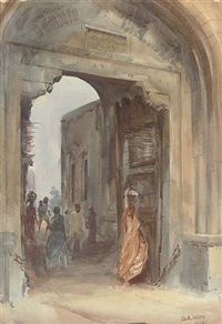the water carrier at a town gate (+ a busy day in a north african town; pair) by b.h. wiles