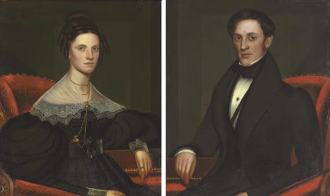 portraits of a lady portrait of a gentleman pair by john sherburne blunt