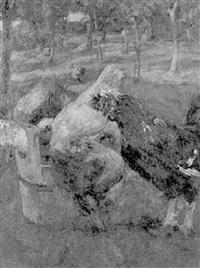 huehner an einem trog by hubert von heyden