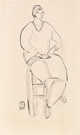 仕女坐像 seated lady by sanyu