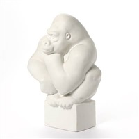 an unglazed modelled in the shape of a gorilla by pia langelund